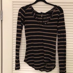 Bobi Linen Striped top Long Sleeve